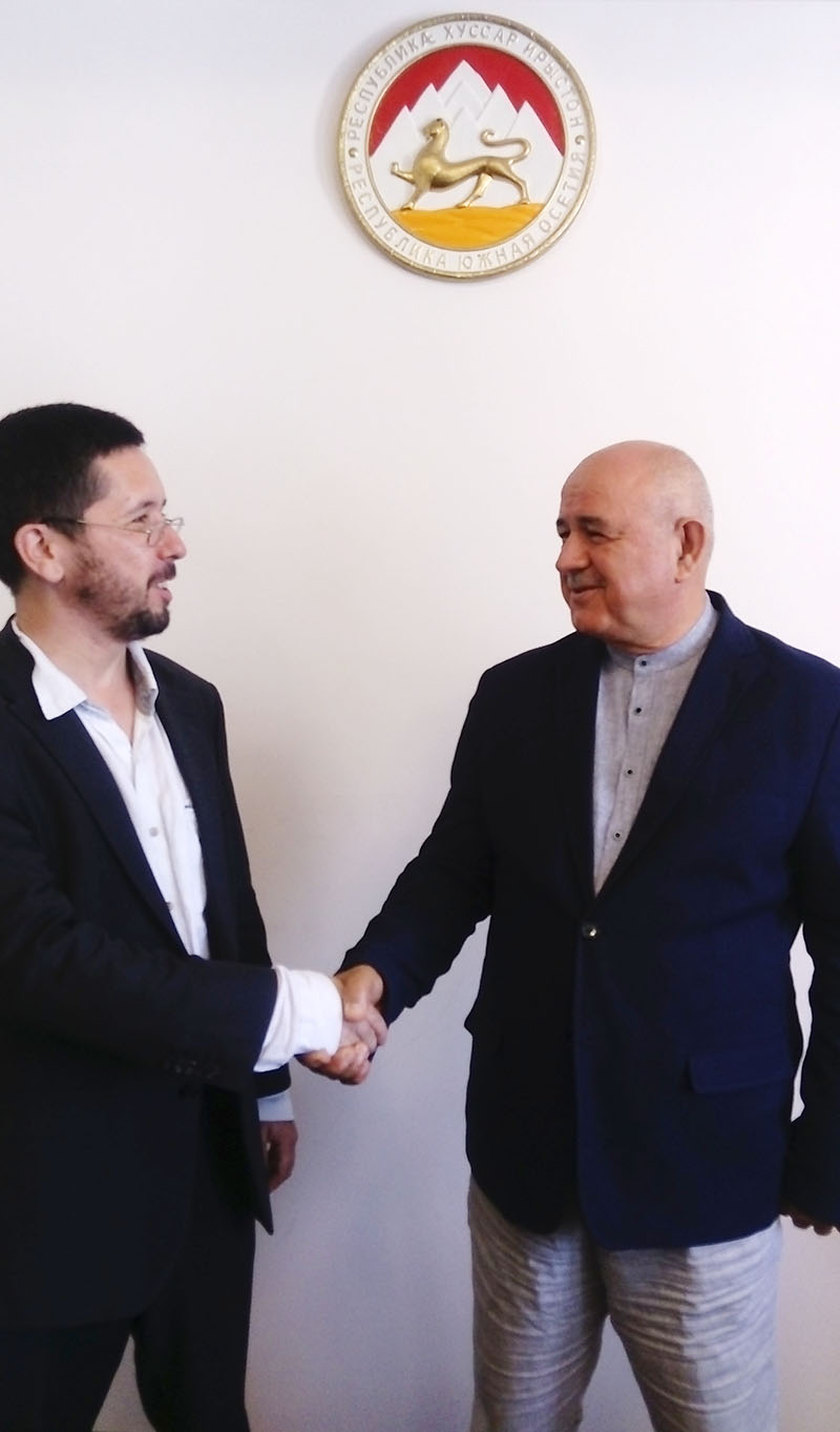 On 28th of August Foreign Minister of the Republic of South Ossetia H.E. Dmitry Medoev held a meeting with head of the Project 'Middle East - North Caucsus...' Michael Chernov. The counterparts discussed international projects of mutual interest.